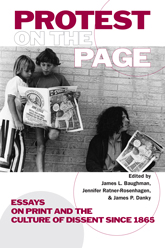A book cover featuring two children and a 20-something man reading alternative press newspapers.